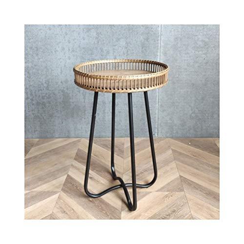 End Tables Beistelltische Rattan Leisure Rack Einfache kleine runde Nachttisch, einfach zu montieren 0708 (Size : 39X62CM) -