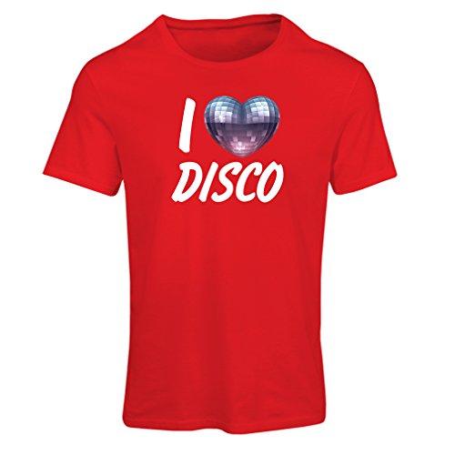 Frauen T-Shirt Ich Liebe Disco - Retro Musik Kleidung (Small Rot Mehrfarben)