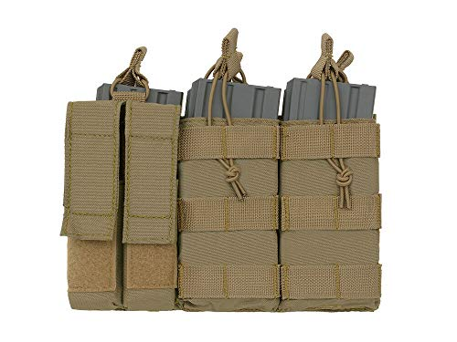 8FIELDS Triple M4 MAG/Pistol Pouch Panel (5 Plus 2) Multi Molle Tasche Airsoft Paintball