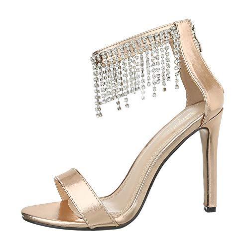 Ital-Design Damenschuhe Sandalen & Sandaletten High Heel Sandaletten Synthetik Gold Rosa Gr. 36