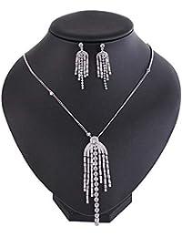 893178841bcf Conjuntos de joyería para mujer Conjunto de aretes y collar de cristal con  diamantes de imitación