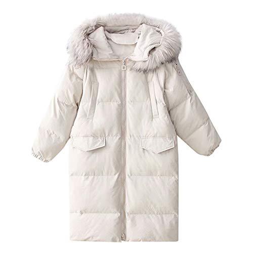 Winterjacke mit Tasche, warme Damen Daunenjacke, einfarbig, warm, langärmelig, Daunenjacke, langärmelig, dicke Daunenjacke, mit Kapuze, Übergröße 36-44 Gr. Large, weiß (Women's Elf Kostüm)
