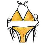 Yellow Square Sexy Women Beach Swimwear Two Pieces Bathing Suit Bikini Top