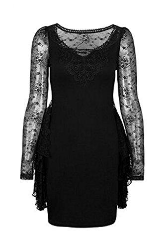 Dark Dreams Gothic Neo Viktorian Punk Rave das kleine Schwarze Kleid 34 36 38 40 42 Mistress, Größe:S/M