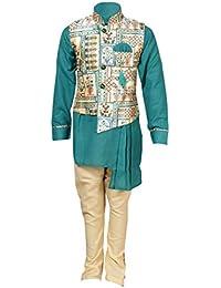 Ahhaaaa Kids Indian Ethnic New Designer Collection Waistcoat Kurta and Pyjama Set for Boys_420