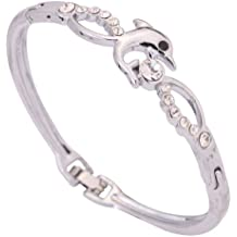 Joyería Yazilind plata elegante plateó la aleación Slender Juego del delfín Ronda cristal chispeante brazalete de la pulsera para la Mujer
