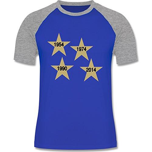 Fußball - Weltmeister 2014 Der vierte Stern - zweifarbiges Baseballshirt für Männer Royalblau/Grau meliert