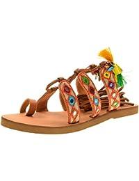 Coral Blue Femme Mcglcab03083e Multicolore Cuir Sandales sandales d'été sandales épais à muffins en croûte femmes sandales plates femmes NOgLH4wA