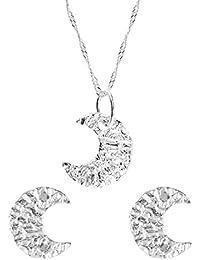 Córdoba Jewels | Conjunto de gargantilla y pendientes en Plata de Ley 925. Diseño Luna Martelé