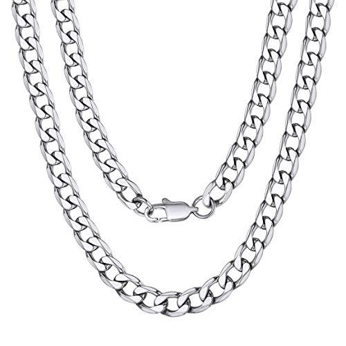 ChainsPro Name Initiale Alphabet Buchstaben ohne Anhänger Edelstahl Halskette für Damen Herren Farbe Silber mit 30