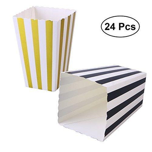 toymytoy Popcorn Boxen Candy Container Popcorn Taschen Party Favor, Gold und Schwarz, 24Stück