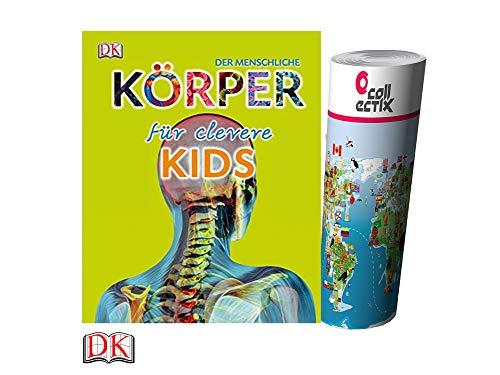 Unbekannt Der menschliche Körper für clevere Kids (Gebundenes Buch) + Kinder Weltkarte