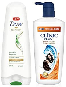 Dove Hair Fall Rescue Conditioner, 180ml & Clinic Plus Strong & Extra Thick Shampoo 650 ml