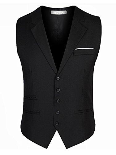 SOIXANTE Herren Weste, Einfarbig, schwarz, MJ-Y009black-5XL (Gilet De Costume Noir Homme)