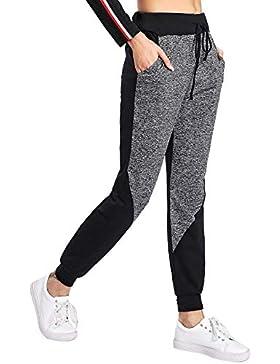 SOLY HUX Pantalones para Mujer, Pantalones para Correr y Hacer Yoga, con Lazo en la Cintura, Informal, con Bloque...