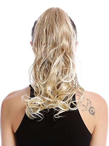 WIG ME UP - N472-V-15T613 Haarteil Zopf Pferdeschwanz geflochtene Strähnen lockig gewellt gesträhnt blond platin 35 cm