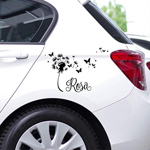 Wandtattoo-Loft Autoaufkleber Pusteblume mit Schmetterlingen und Ihrem Wunschnamen - Personalisiert/schwarz / -