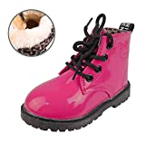 GaldGG Toddler Little Kids Boys Girls Martin Boots Ankle Boots Side Zipper Lace-up Winter Snow Boots Plush Inner Waterproof Outdoor Walking Shoes Rosa