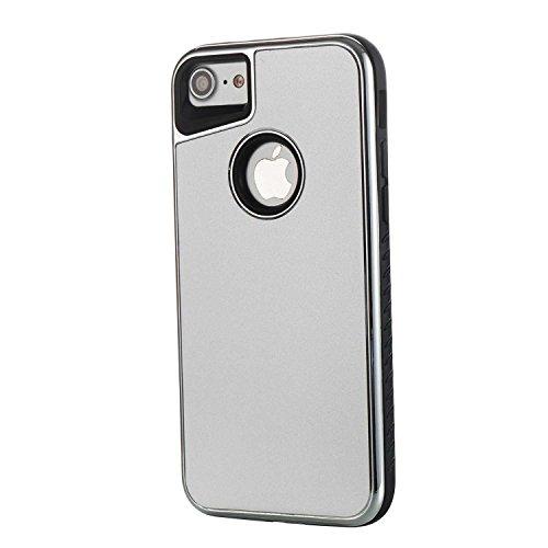 Cover Apple iphone 8 / 7, Alfort 2 in 1 Custodia Protettiva Placcatura Scrub Shell Alta Qualità Case PC + TPU Moda Semplice ( Oro rosa ) 4,7 pollici Argento