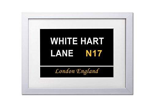 Living-Colors-Maps-Of-The-World-White-Hart-Lane-Signs-A3-Framed-Art-Print-White-Frame-Wall-Art-Picture-12-x-16-Inches-30x40CM