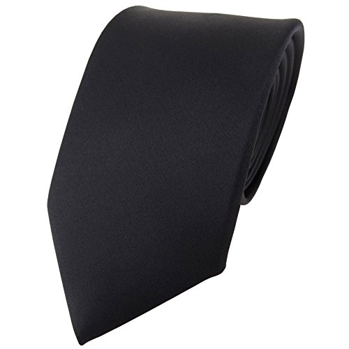 TigerTie Satin Seidenkrawatte in schwarz einfarbig Uni - Krawatte 100% Seide - Schwarze Seide Krawatte