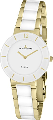 JACQUES LEMANS Damenuhr   Metallband massiv Edelstahl ip-gold  42-3F