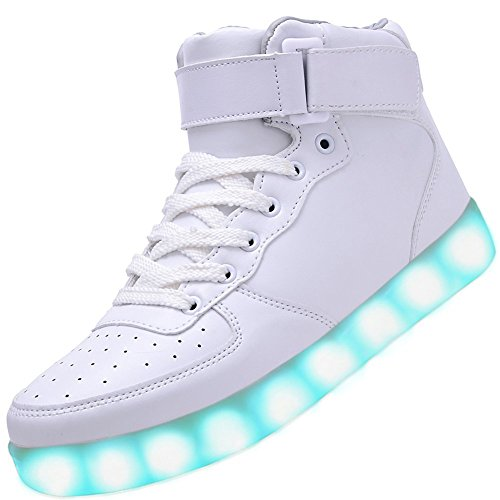 Fortuning's JDS Adulte Unisexe USB chargeant Haut de page Sneakers lumineux LED clignotante Velcro Chaussures Blanc