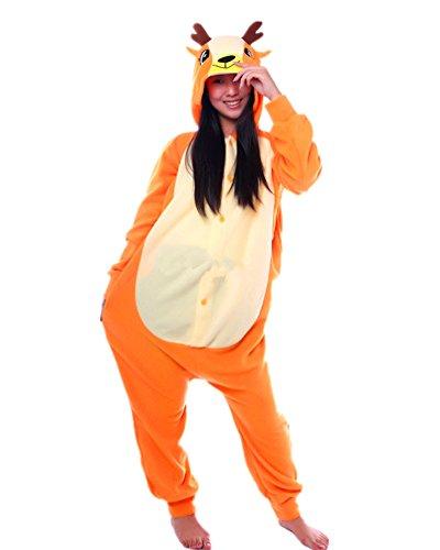 SAMGU Tier Onesie Pyjama Cosplay Kostüme Schlafanzug Erwachsene Unisex Animal Tieroutfit tierkostüme Jumpsuit Hirsch(Größe (Kostüme Für Hirsch Erwachsene)