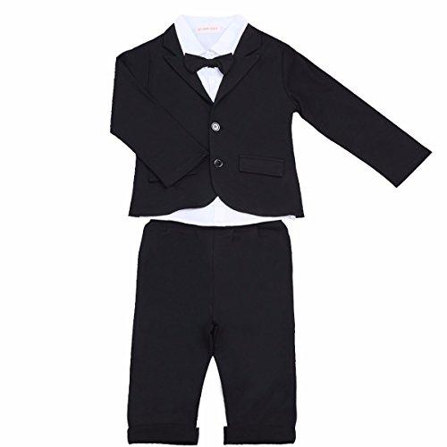 YiZYiF 3 Stück Baby Kinder Jungen Kleidung Set Party Taufe Hochzeit Smoking Anzüge & Sakkos Mantel Coat + Shirt + Pants Hose Outfits Gr. 80 86 92 104 Schwarz Weiß 68-80 (Baby-taufe-kleidung)