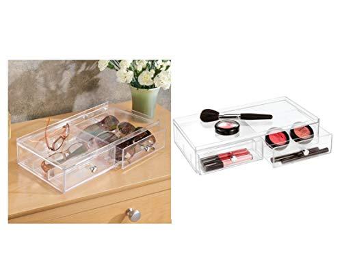 iDesign 39760EU Clarity Stapelbarer Schubladenturm mit 2 Schubladen, breit, 32,5 cm x 18,0 cm x 7,5 cm, durchsichtig, kunststoff -