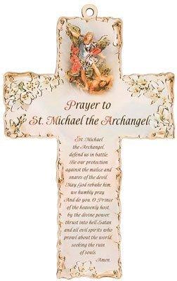 15.24 cm, Holz, personalisierbar mit Lasergravur Kruzifix Kreuz Gebet an, Erzengel St. MICHAEL