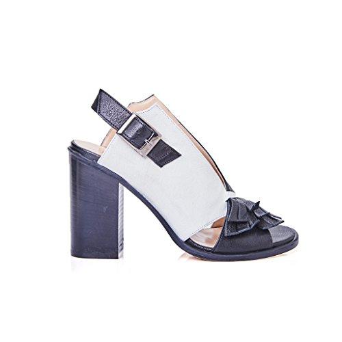 sandalo pelle tacco donna modello ixos frange bianco e nero
