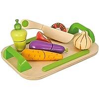 Eichhorn 100003722 - Schneidebretter, Set mit Gemüse, 12-teilig - 26x16,5 cm - Schneidegemüse aus Holz mit Klett-Verbindung