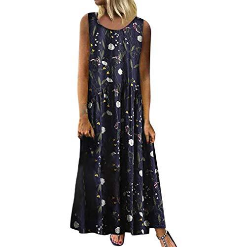 Fcostume Damen Sommerkleid, Frauen Plus Größe böhmischen Oansatz Blumendruck Vintage ärmelloses langes Maxi-Kleid Strandkleid (Vintage-kleid Größe Plus)