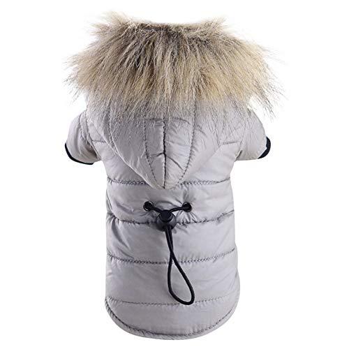 acke Hundebaumwolljacke,Haustier Hund warme Daunenjacke mit Baumwolle gefüttert Kostüm Puppy Winter Clothe Hoodie Mäntel(Rot, Armeegrün, Grau,M) ()