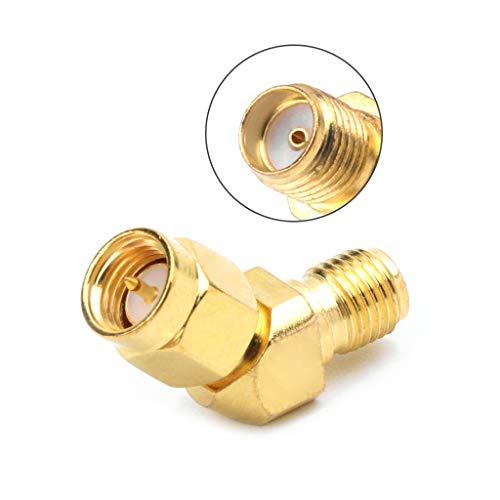 Preisvergleich Produktbild JOYKK SMA-Stecker auf SMA-Buchse 45 ° 135 ° Bevel-Adapterstecker für FPV-Goggle-Antenne - Gold