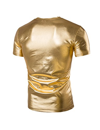 Legou Herren V-neck Tee Faux Leder Optik Metallic Glanz T-Shirt Gold