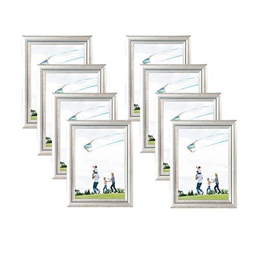 eSituro SPF0057-8 Bilderrahmen 8 Stück Fotorahmen Dekorahmen zum Aufhängen oder Aufstellen aus Massivholz Glasschiebe 10x15 bis 30x40cm Silber