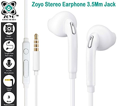 Zoyo Stereo Earphone Hands-Free 3.5Mm Jack In-Ear Super Extra Bass Headphone Headset With Mic Compatible with Samsung, Motorola, Sony, Oneplus, HTC, Lenovo, Nokia, Asus, Lg,Oppo,Vivo, Coolpad, Xiaomi, Micromax and All Mobiles.  available at amazon for Rs.179