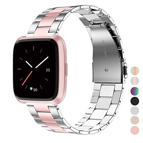 Wearlizer für Fitbit Versa Armband, Edelstahl Ersatzband Armbänder für Fitbit Versa Special Edition Klein Groß - Silber + Rosa - Fitbit-armband Faltschließe