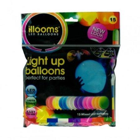 Preisvergleich Produktbild Leuchtende Led Luftballons Set mit 15 Stück Hochzeit Gebutstag bunte Mischung mit Led