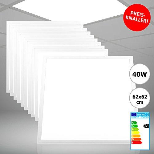 10x Xtend Ple2.1 LED Panel 62x62 Tageslichtweiß Kaltweiß 6000K 40W 3400 Lumen PMMA nicht dimmbar ultraslim Rasterleuchte