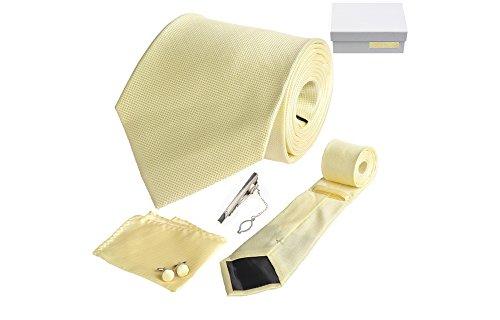 Coffret Victoria - Cravate jaune mimosa, boutons de manchette, pince à cravate, pochette de costume