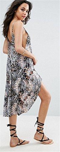 Sexy Ohne Arm ärmelloser Spaghettiträger Tiefer V-Ausschnitt Rückenfrei Unregelmäßige Saum Midi Midikleid Skaterkleid A Linien A Linie Ausgestellte Dress Kleid Leopard Leopard