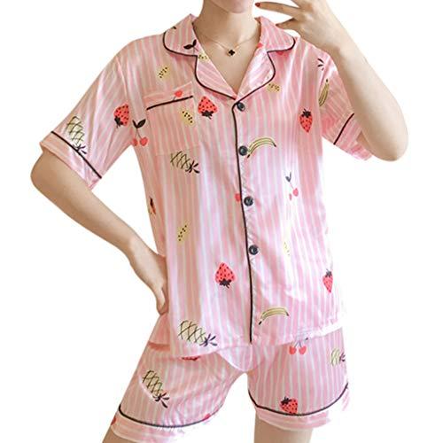 Frauen 2 Stücke Sommer Pyjamas Kurzarm Shorts Pyjamas Lose Nachtwäsche Homewear Damen Hauspyjama Zweiteilig E-2 (Rosa,M) ()