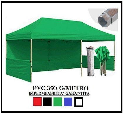 Gazebo pieghevole verde alluminio esagonale 40mm 3x6 + 4 teli laterali pvc 350 g metro