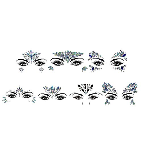 Gesicht Edelsteine Sticker,Temporäre Tattoos Gesichts Aufkleber, Schmucksteine Selbstklebend Gesicht, Glitter Strass Juwelen Face Sticker für Parties, Shows, Make-up ()