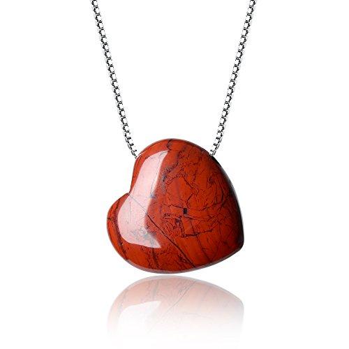 Coai collana da donna in argento 925 con ciondolo cuore in diaspro rosso