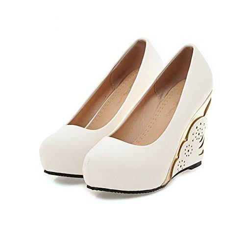 VogueZone009 Femme Matière Souple Tire Rond à Talon Haut Couleur Unie Chaussures Légeres Blanc