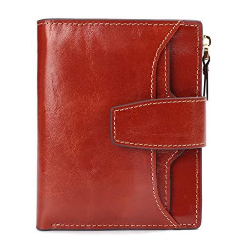 ZMMQBD Neue RFID Frauen Brieftasche Kurze Handtaschen Aus Echtem Leder Brieftasche Geldbörse Reißverschluss Geld Tasche 12 Kartenhalter Cartera Mujer -